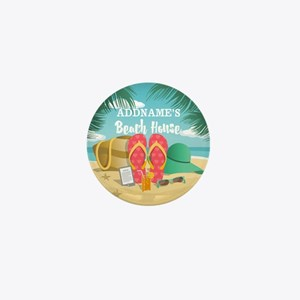 Tropical Paradise Beach House Personal Mini Button