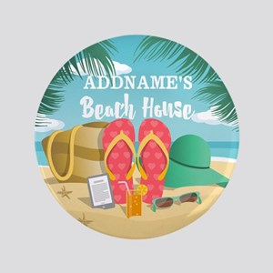 Tropical Paradise Beach House Personalized Button