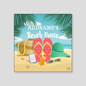 """Tropical Paradise Beach Hou Square Sticker 3"""" x 3"""""""