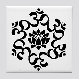 Buddhist Sacred Indian Lotus Flower B Tile Coaster