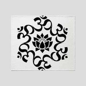 Buddhist Sacred Indian Lotus Flower Throw Blanket