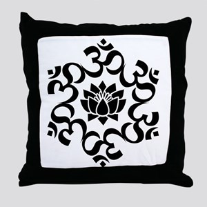 Buddhist Sacred Indian Lotus Flower B Throw Pillow