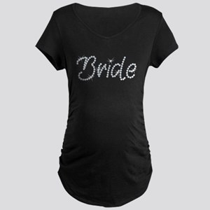 Faux Rhinestone Bride Maternity Dark T-Shirt