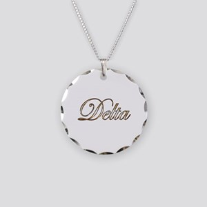 Gold Delta Necklace Circle Charm