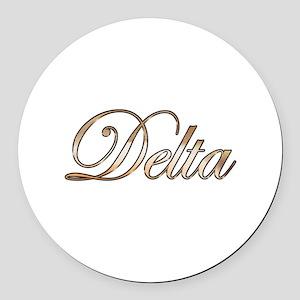 Gold Delta Round Car Magnet