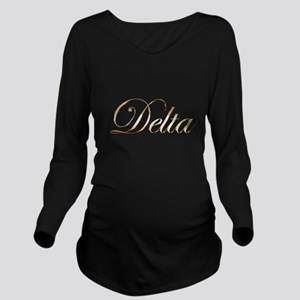 Gold Delta Long Sleeve Maternity T-Shirt