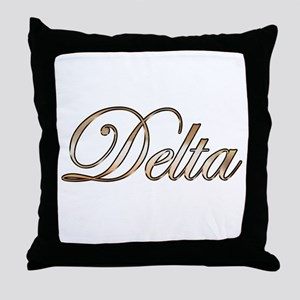 Gold Delta Throw Pillow