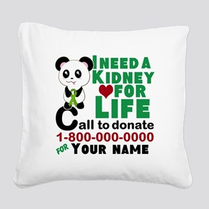 Personalize, Kidney Donation Square Canvas Pillow