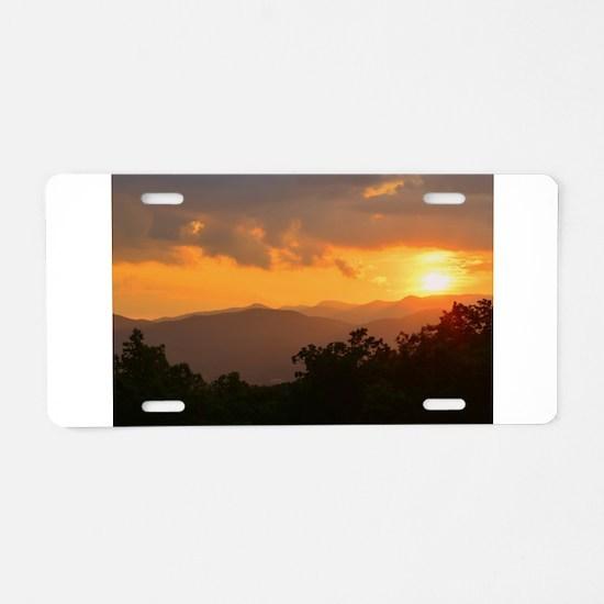 Pisgah Forest Sunset Aluminum License Plate