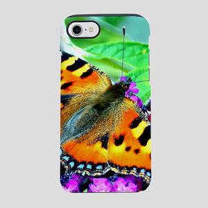 Orange butterfly, purple flowers, green leaves. iP