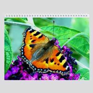 Orange Butterfly, Purple Flowers, Wall Calendar
