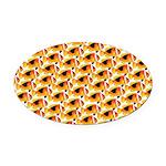 Fire Clownfish Pattern Oval Car Magnet