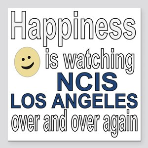 """Happiness is watching NC Square Car Magnet 3"""" x 3"""""""