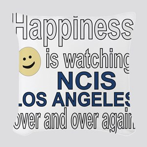 Happiness is watching NCIS Los Woven Throw Pillow