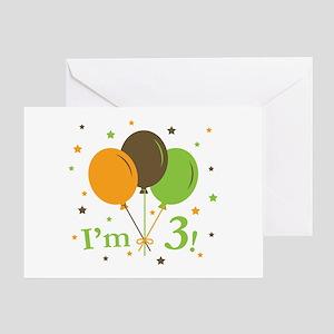 Retro Balloons I'm 3 Greeting Card