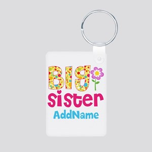 Big Sister Pink Teal Flora Aluminum Photo Keychain