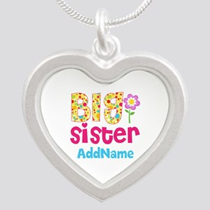 Big Sister Pink Teal Floral Silver Heart Necklace