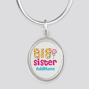 Big Sister Pink Teal Floral P Silver Oval Necklace