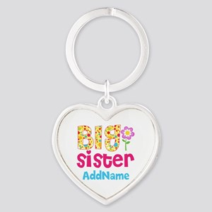 Big Sister Pink Teal Floral Persona Heart Keychain