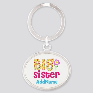 Big Sister Pink Teal Floral Personal Oval Keychain