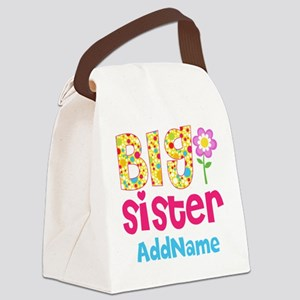 Big Sister Pink Teal Floral Perso Canvas Lunch Bag