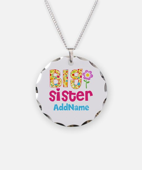 Big Sister Pink Teal Floral Necklace Circle Charm