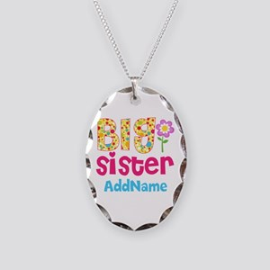 Big Sister Pink Teal Floral Pe Necklace Oval Charm