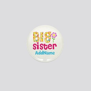 Big Sister Pink Teal Floral Personaliz Mini Button