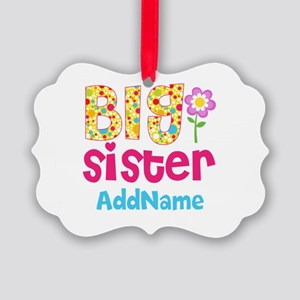 Big Sister Pink Teal Floral Perso Picture Ornament