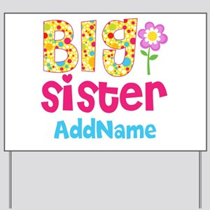 big sister pink teal floral personalized yard sign