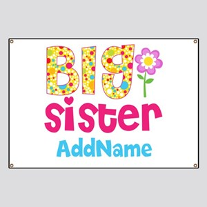 Big Sister Pink Teal Floral Personalized Banner