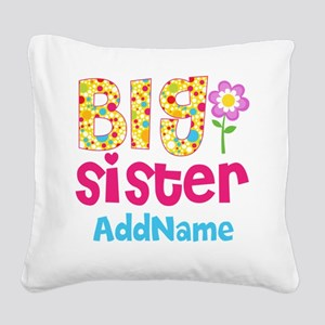Big Sister Pink Teal Floral P Square Canvas Pillow