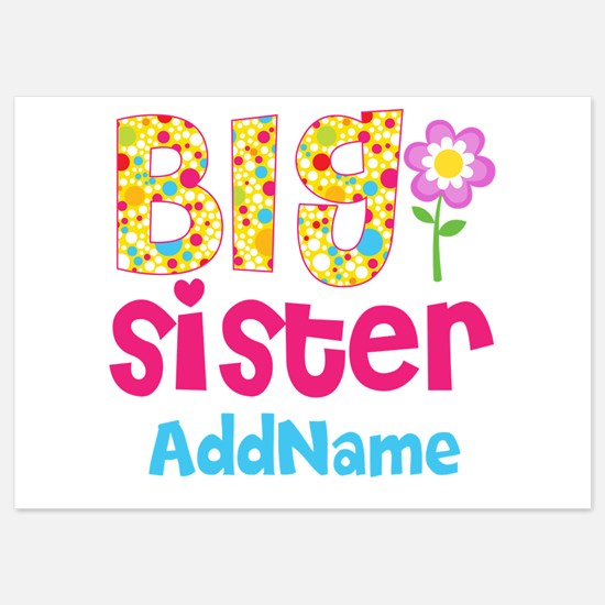 Big Sister Pink Teal Floral Persona Invitations