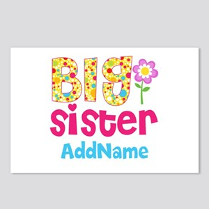 Big Sister Pink Teal Flor Postcards (Package of 8)
