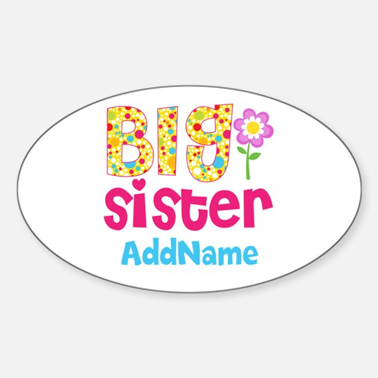 Big Sister Pink Teal Floral Persona Sticker (Oval)