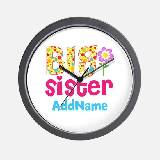 Big Sister Pink Teal Floral Personalize Wall Clock