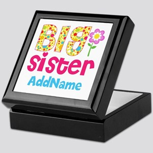 Big Sister Pink Teal Floral Personali Keepsake Box