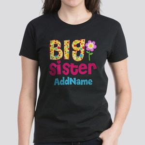 Big Sister Pink Teal Floral P Women's Dark T-Shirt