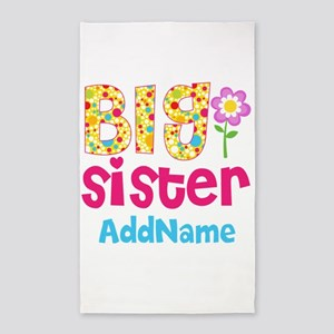 Big Sister Pink Teal Floral Personalized Area Rug