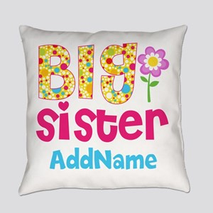 Big Sister Pink Teal Floral Person Everyday Pillow