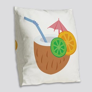 Tropical Drink Burlap Throw Pillow