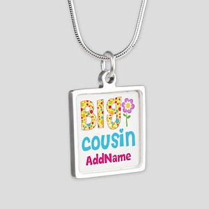 Big Cousin Floral Dots Per Silver Square Necklace