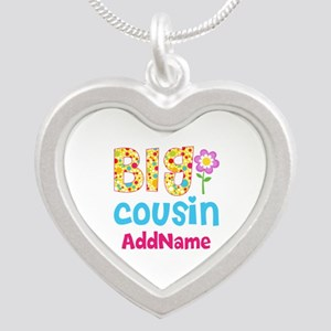 Big Cousin Floral Dots Perso Silver Heart Necklace
