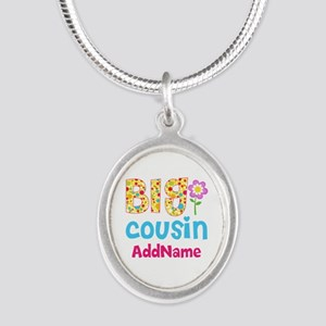 Big Cousin Floral Dots Person Silver Oval Necklace