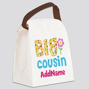 Big Cousin Floral Dots Personaliz Canvas Lunch Bag