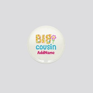 Big Cousin Floral Dots Personalized Mini Button
