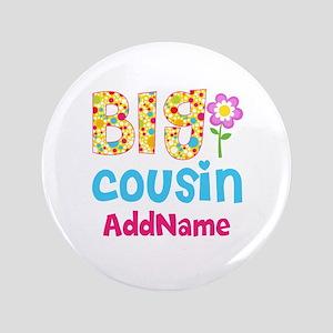Big Cousin Floral Dots Personalized Button