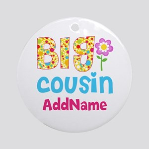 Big Cousin Floral Dots Personaliz Ornament (Round)