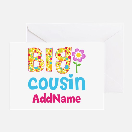 Big Cousin Floral Dots Personalized Greeting Card