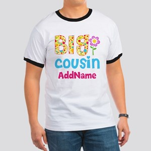 Big Cousin Floral Dots Personalized Ringer T
